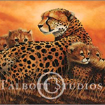 Cheetahs, original oil painting of a big cat with her cubs by Eugenia Talbott