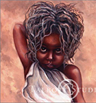 Portrait of Priddy, original oil painting of a small African girl by Eugenia Talbott