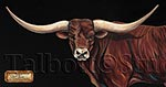 Don't Call Me Buttercup, 40 x 16 original oil painting of a longhorn bull by Eugenia Talbott Adderson. Entitled Don't Call Me Buttercup by PRCA Hall of Fame bull rider Charles Sampson. The painting was sold and is now offered in limited edition giclee prints on canvas in the same size as the original and 26 x 10.