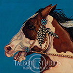 Zuni Spirit, original oil painting of a half Arab Pinto horse with silver and truquoise bridle and feathers by Eugenia Talbott. 'Zuni Spirit' is one of ten paintings which will be exhibited in 2015 in a show called 'What Shines.' The collection of art work will be figurative oil paintings of human and animal subjects. After having the privilege of visiting Zuni several times and making friendships that have lasted through the years, this painting represents the spirit of that special land, with its enormous blue sky, and its people, with emphasis on the unique style of Zuni petit point southwestern silver and turquoise jewelry. Please click the picture to view an uncropped image, dimensions and pricing for the original oil painting and fine art prints.