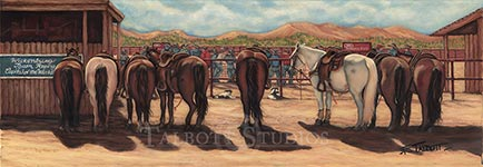 'Waiting for the Short-Go' depicts the horses of the team ropers who have made the last round to determine the champions. I'm always in awe of the horses and what athletes they are-one minute horse and rider racing after the steer in break neck speeds, then calmly waiting until they are called upon again. - Eugenia Talbott Adderson, Talbott Studios. Premium quality limited edition reproductions are available.