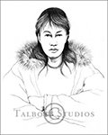 Portrait of Robert, original graphite drawing of an Inuit Boy from Churchill, Manitoba, Canada by Eugenia Talbott