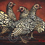 Gossip Chicks, oil painting of three chickens in oil by Eugenia Talbott