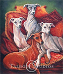Portrait of four Italian Greyhounds, oil painting by Eugenia Talbott