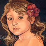 Portrait of Isabela, oil painting of a little girl by Eugenia Talbott