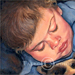 Portrait of Thomas, oil painting of a little boy sleeping in oil by Eugenia Talbott