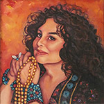 19 x 30 oil on canvas. Portrait of Wendy Gell, fashion jewelry designer. This piece is an example of a commissioned portrait, so prints are not available.