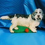 Free standing painting of a Basset Griffon dog, painted on wood