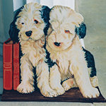 Free standing painting of Sheepdog puppies, painted on wood.