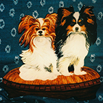 Free standing painting of two Papillons, painted on wood