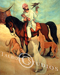 Falconer, painting of an Arab falconer mounted on an Arabian horse, with falcon and Saluki dogs.