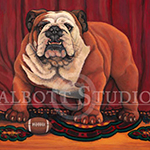 Let's Play Ball, painting of a bulldog with football by Eugenia Talbott