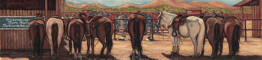 Detail image of Waiting for the Short Go, original oil painting by artist Eugenia Talbott